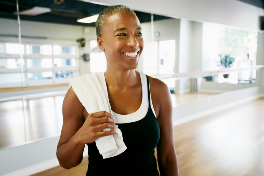 Woman smiling in yoga studio